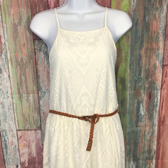 Lily Rose Dresses & Skirts - NWOT off white laced maxi belted Dress